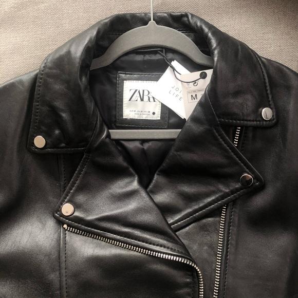 NWT ZARA Join Life Leather Biker Jacket Medium